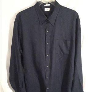 J. Crew linen button down dress shirt dark blue XL